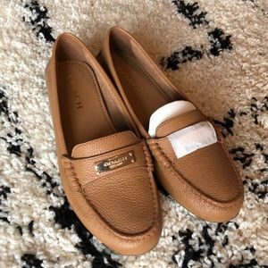 NWB Brown Coach Fredrica Leather Loafers